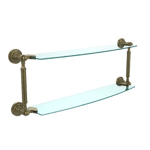 Dottingham Antique Brass 24-Inch Double Shelf