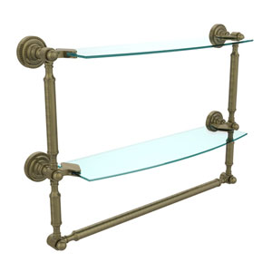 Dottingham Antique Brass Double Shelf with Towel Bar