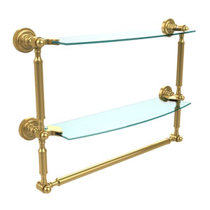 Polished Brass Double Shelf with Towel Bar