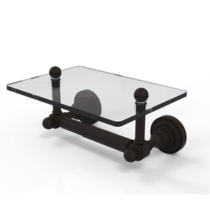 Dottingham Collection Two Post Toilet Tissue Holder with Glass Shelf, Oil Rubbed Bronze