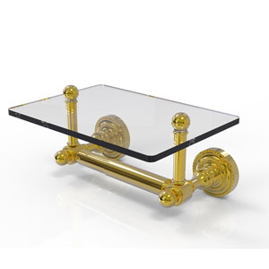 Dottingham Collection Two Post Toilet Tissue Holder with Glass Shelf, Unlacquered Brass
