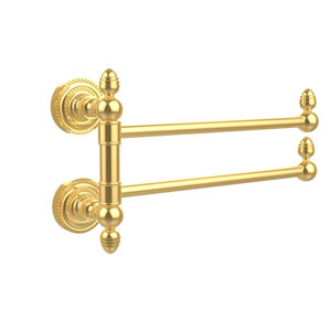 Dottingham Collection 2 Swing Arm Towel Rail, Unlacquered Brass