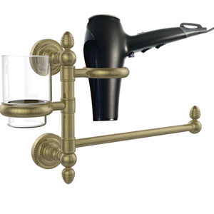 Dottingham Collection Hair Dryer Holder and Organizer, Antique Brass