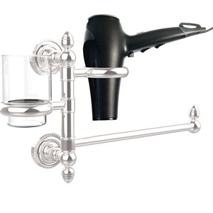 Dottingham Collection Hair Dryer Holder and Organizer, Polished Chrome