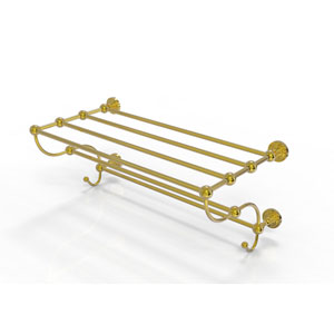 Dottingham Collection 36 Inch Train Rack Towel Shelf, Unlacquered Brass