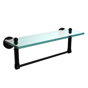 Dottingham Matte Black 16x5 Glass Shelf w/ Towel Bar