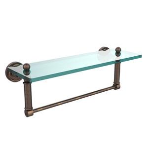 Dottingham Venetian Bronze 16x5 Glass Shelf w/ Towel Bar