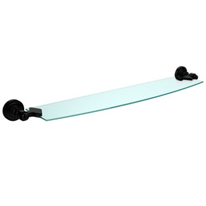 Dottingham Matte Black 24 Inch x 5 Inch Glass Shelf