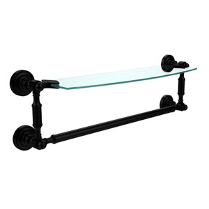 Dottingham Matte Black 18 Inchx5 Inch Glass Shelf w/Towel Bar