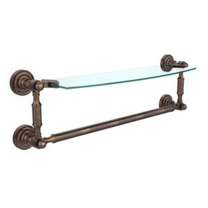 Dottingham Venetian Bronze 18 Inchx5 Inch Glass Shelf w/Towel Bar