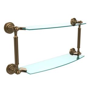 Dottingham Brushed Bronze 18 Inch x 5 Inch Double Glass Shelf