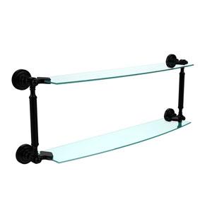 Dottingham Matte Black 24 Inch x 5 Inch Double Glass Shelf