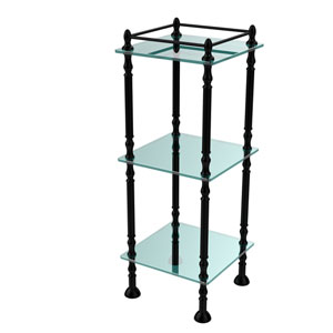 Three Tier Etagere with 14 Inch x 14 Inch Shelves, Matte Black