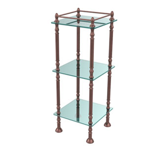 Three Tier Etagere with 14 Inch x 14 Inch Shelves, Antique Copper