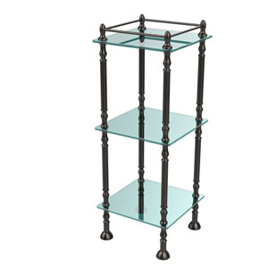Three Tier Etagere with 14 Inch x 14 Inch Shelves, Oil Rubbed Bronze