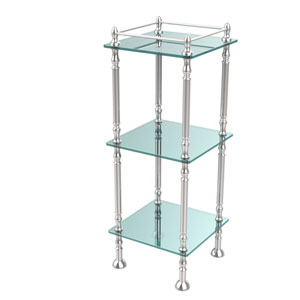 Three Tier Etagere with 14 Inch x 14 Inch Shelves, Polished Chrome