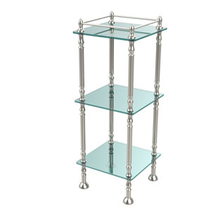 Three Tier Etagere with 14 Inch x 14 Inch Shelves, Polished Nickel
