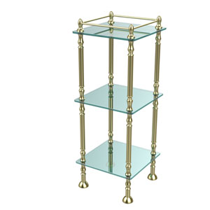 Three Tier Etagere with 14 Inch x 14 Inch Shelves, Satin Brass