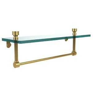 Polished Brass Single Shelf with Towel Bar