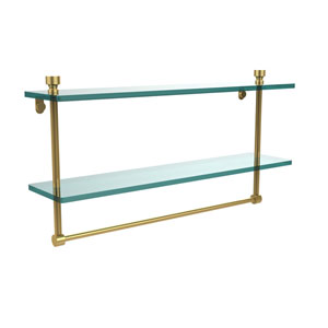 Foxtrot Polished Brass Double Shelf with Towel Bar