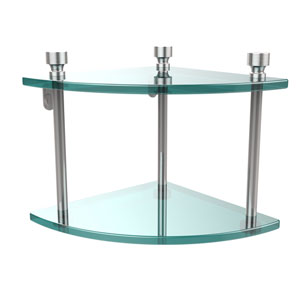 Foxtrot Collection Two Tier Corner Glass Shelf, Polished Chrome