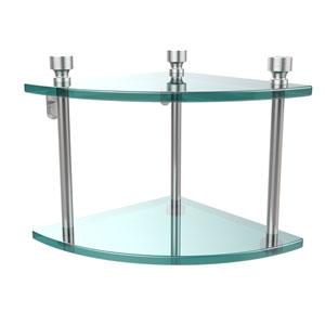 Foxtrot Collection Two Tier Corner Glass Shelf, Satin Chrome