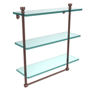 Foxtrot Collection 16 Inch Triple Tiered Glass Shelf with Integrated Towel Bar, Antique Copper