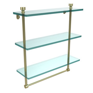 Foxtrot Collection 16 Inch Triple Tiered Glass Shelf with Integrated Towel Bar, Satin Brass