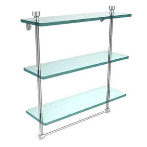 Foxtrot Collection 16 Inch Triple Tiered Glass Shelf with Integrated Towel Bar, Satin Chrome