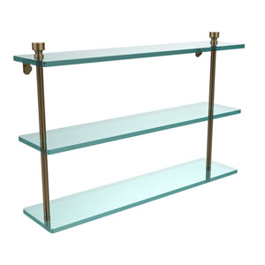Foxtrot Collection 22 Inch Triple Tiered Glass Shelf, Brushed Bronze