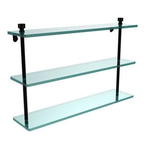 Foxtrot Collection 22 Inch Triple Tiered Glass Shelf, Matte Black
