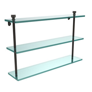 Foxtrot Collection 22 Inch Triple Tiered Glass Shelf, Oil Rubbed Bronze