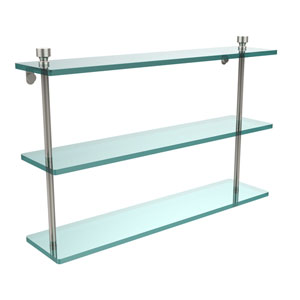 Foxtrot Collection 22 Inch Triple Tiered Glass Shelf, Polished Nickel