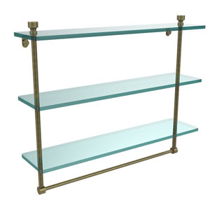 Foxtrot Collection 22 Inch Triple Tiered Glass Shelf with Integrated Towel Bar, Antique Brass