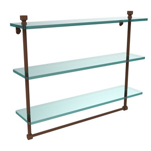 Foxtrot Collection 22 Inch Triple Tiered Glass Shelf with Integrated Towel Bar, Antique Bronze