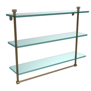 Foxtrot Collection 22 Inch Triple Tiered Glass Shelf with Integrated Towel Bar, Brushed Bronze