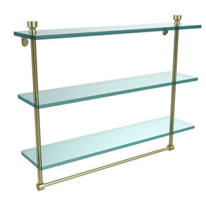 Foxtrot Collection 22 Inch Triple Tiered Glass Shelf with Integrated Towel Bar, Satin Brass