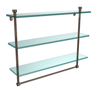 Foxtrot Collection 22 Inch Triple Tiered Glass Shelf with Integrated Towel Bar, Venetian Bronze