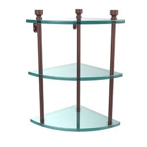 Antique Copper Triple Corner Glass Shelf