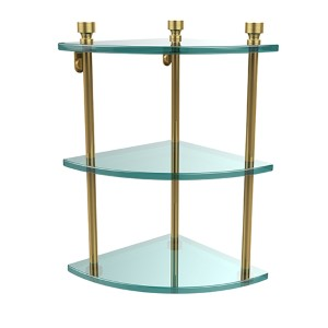 Polished Brass Foxtrot Triple Corner Glass Shelf