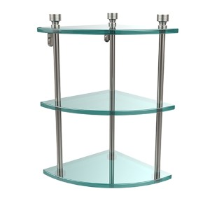 Satin Nickel Foxtrot Triple Corner Glass Shelf