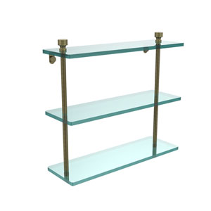 Antique Brass Triple glass Shelf 16 Inch