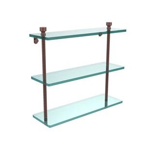 Antique Copper Triple glass Shelf 16 Inch
