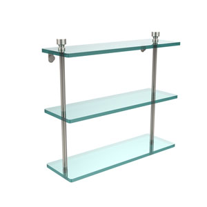 Polished Nickel Triple glass Shelf 16 Inch