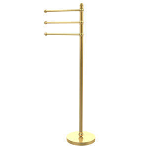 49 Inch Towel Stand with 3 Pivoting Arms, Unlacquered Brass