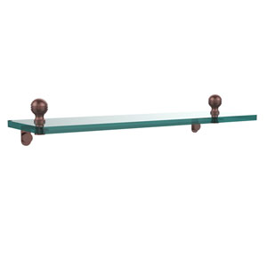 Mambo 16 Inch Glass Vanity Shelf with Beveled Edges, Antique Copper