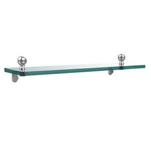 Mambo 16 Inch Glass Vanity Shelf with Beveled Edges, Polished Chrome