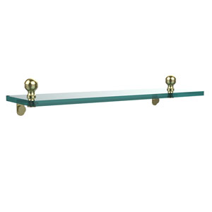 Mambo 16 Inch Glass Vanity Shelf with Beveled Edges, Satin Brass