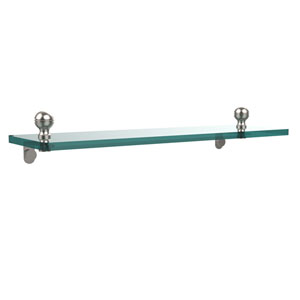 Mambo 16 Inch Glass Vanity Shelf with Beveled Edges, Satin Nickel