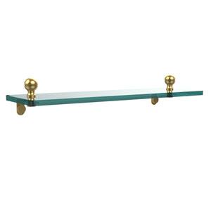 Mambo 16 Inch Glass Vanity Shelf with Beveled Edges, Unlacquered Brass